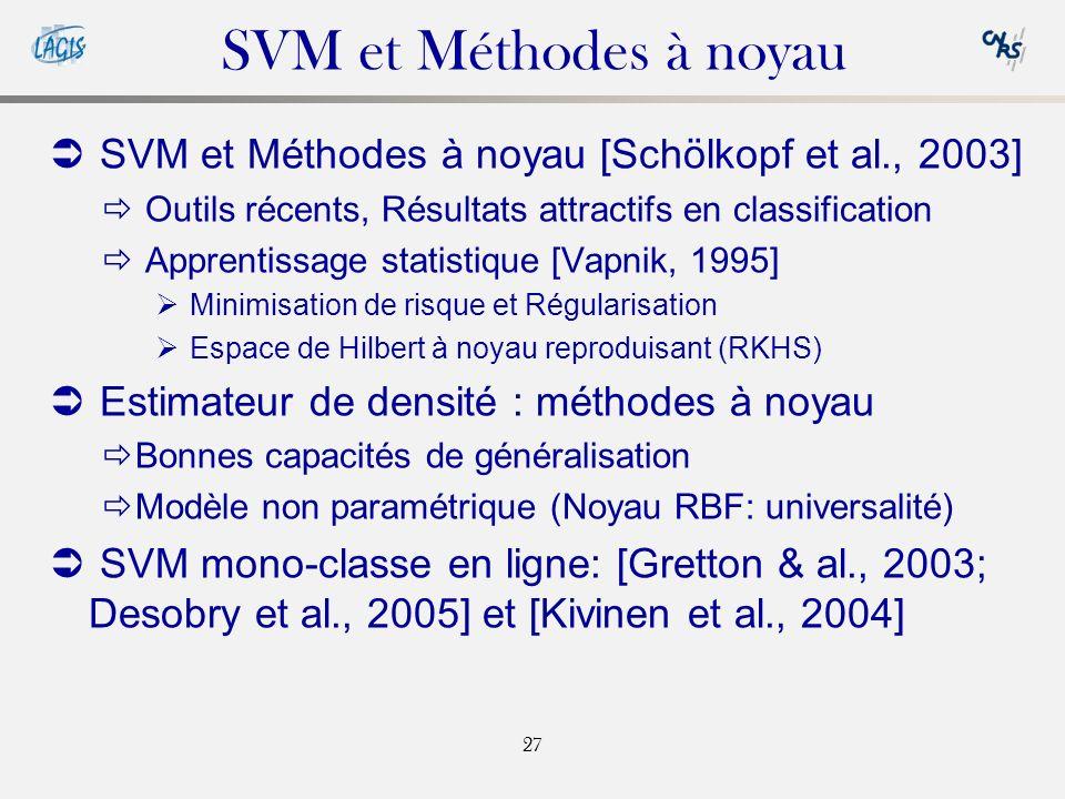 SVM et Méthodes à noyau SVM et Méthodes à noyau [Schölkopf et al., 2003] Outils récents, Résultats attractifs en classification.